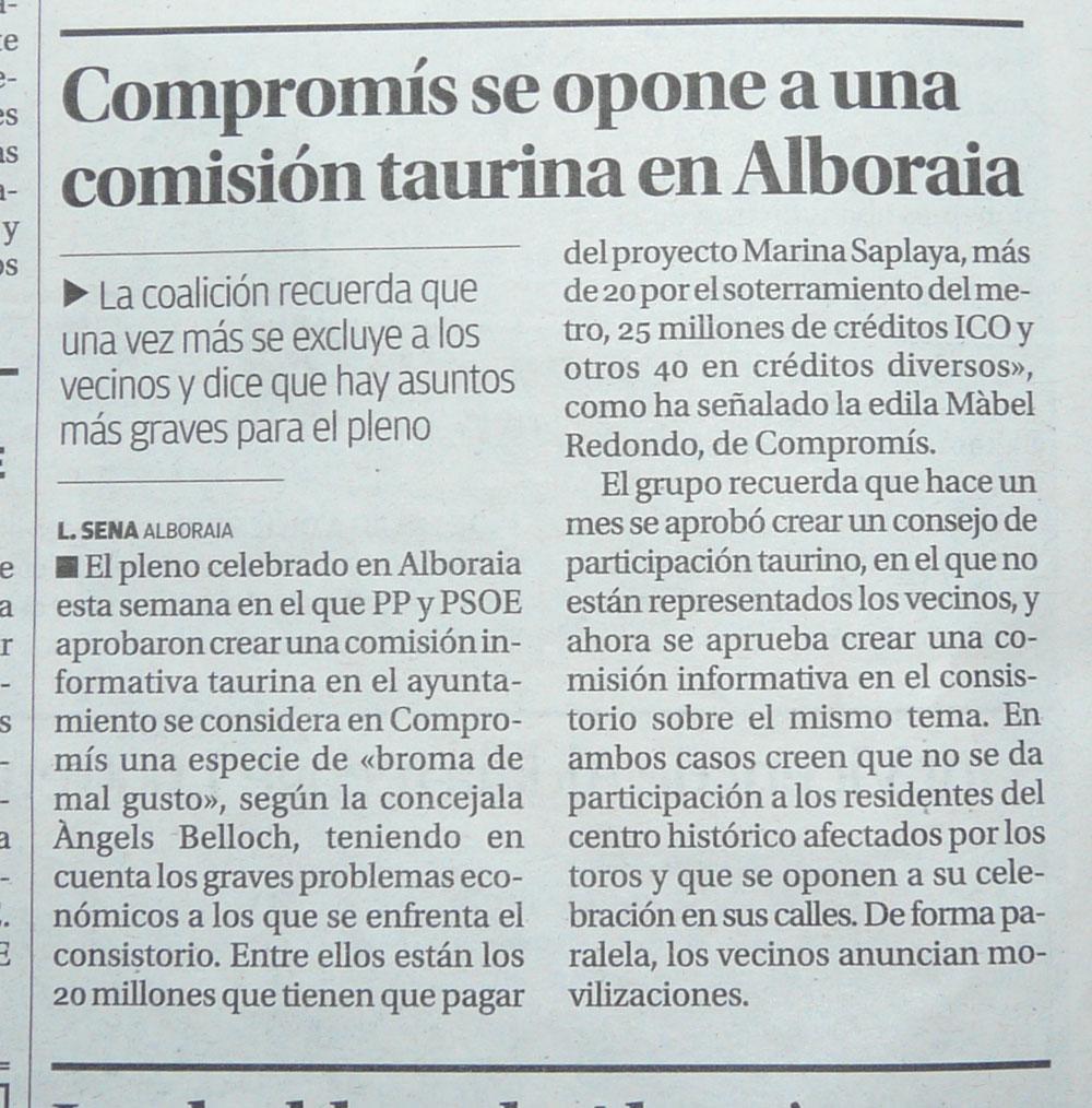 Photo: Compromís se opone a una comisión taurina en Alboraia