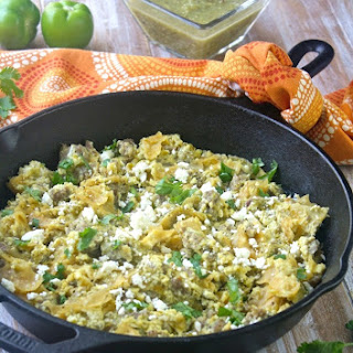 Skillet Pork Migas with Roasted Tomatillo Salsa