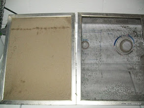 """Photo: 2 screen air filter with one cleaned (from """"dougfamous"""" at HVAC-TALK).  """"Wondering why my gas bill was so high and the house was cold?"""""""