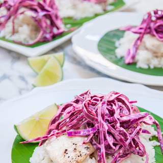 Mahi Mahi Baked in Banana Leaves with Island Slaw.