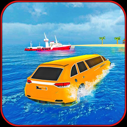 Water Surfer Beach Limo Car Driving Simulator