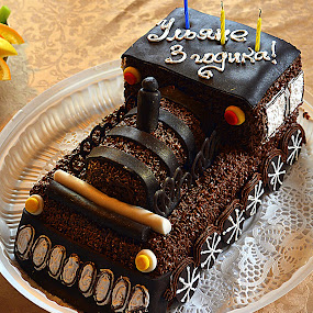 Birthday cake. by Anna Cole - Food & Drink Candy & Dessert ( holiday, birthday, cake, nice, train, brown, dessert,  )