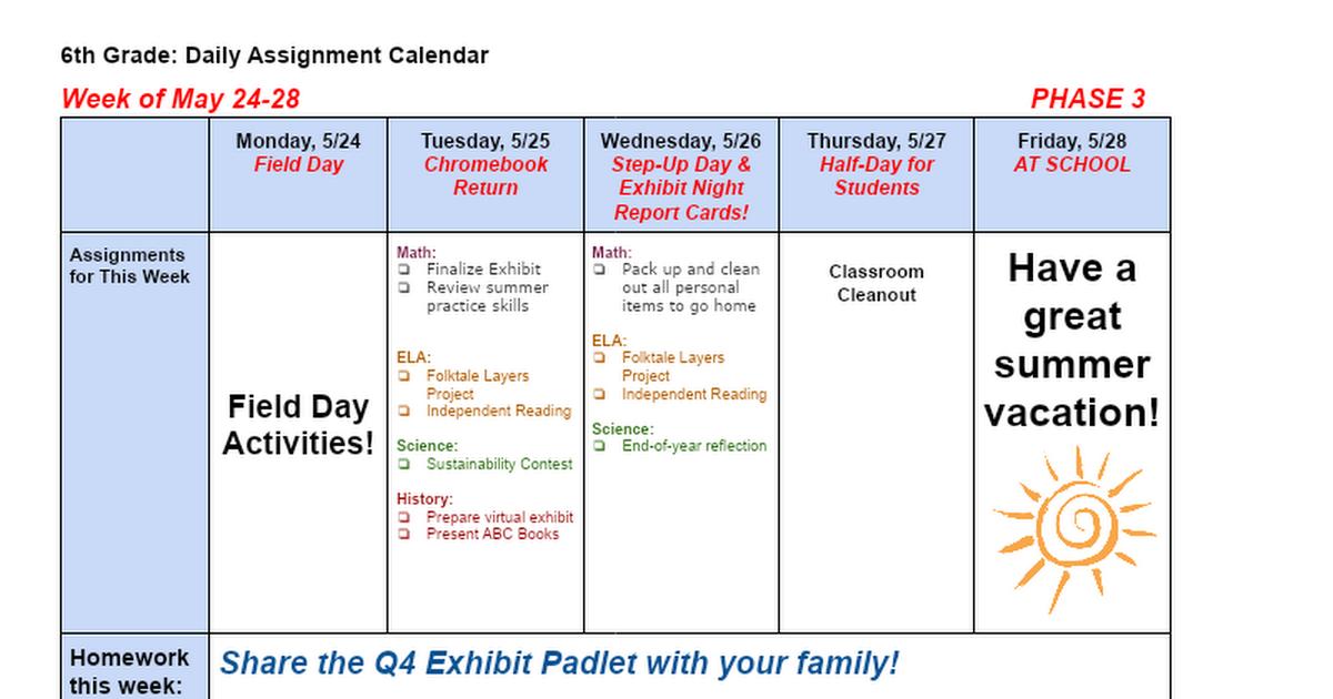 Google Calendar Homework Planner : Homework calendar th grade google docs