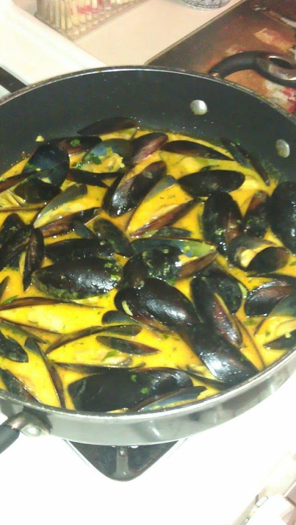 Spicy Coconut Curry Mussels.. Don't forget my Ciabatta bread for dipping!!!