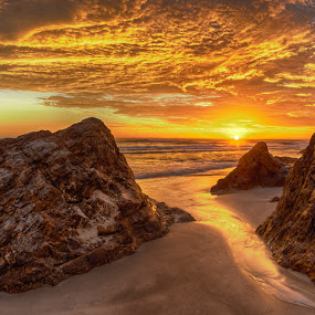 Sunrise at Burleigh Heads by Dom Del - Landscapes Sunsets & Sunrises ( clouds, sand, waves, sea, ocean, sunrise, morning, rocks )
