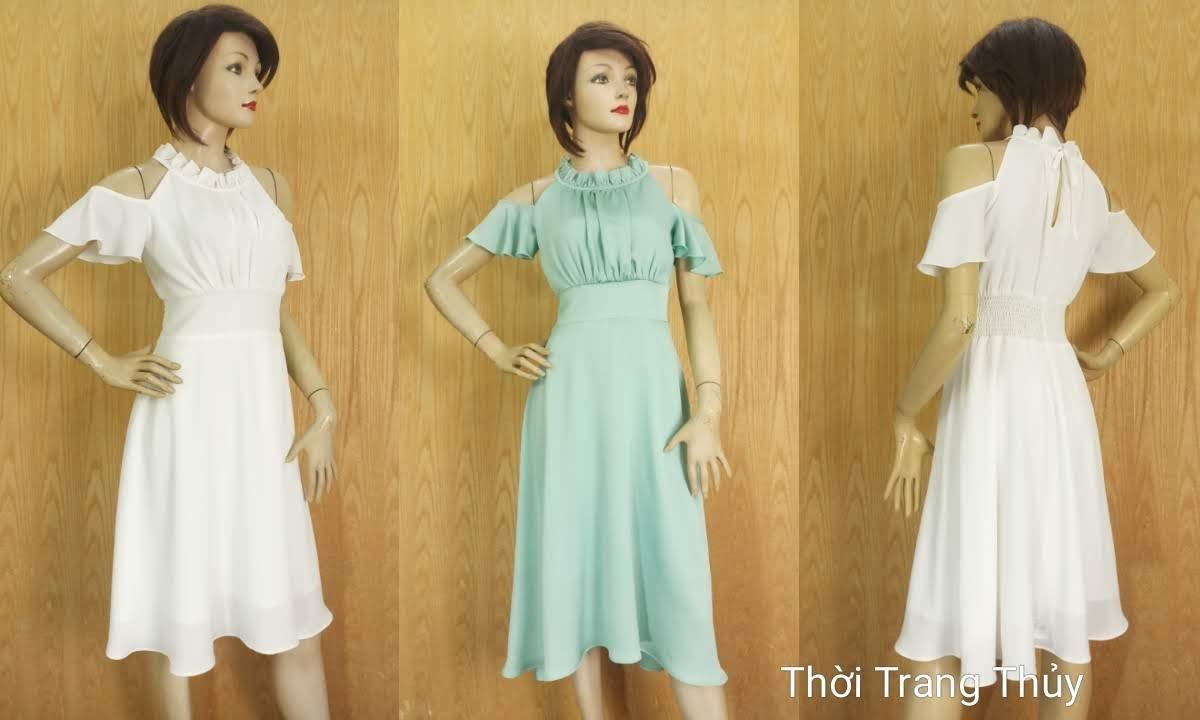 Váy xòe dáng dài trễ vai mặc đi dự tiệc đi biển V674 tại Hải Phòng