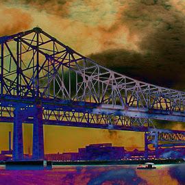 Bridge from Boat by Joseph Vittek - Digital Art Abstract