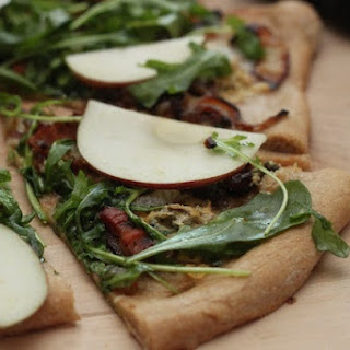 Bacon, Blue Cheese and Onion Pizza with Apple and Arugula Salad (and Whole Wheat Pizza Crust)