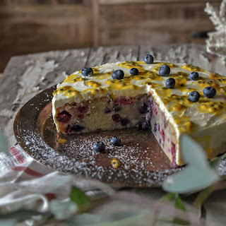 Winter Berry Cake With Mascarpone & Passionfruit