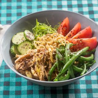 Summer Chicken Ramen with Fresh Noodles, Purple Beans & Tomato
