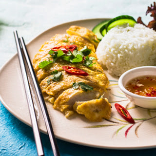 Lemongrass Chicken Served With Steamed Rice.