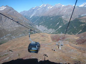 Photo: We take the cable-car up to Schwarzsee, avoiding a long steep climb up from Zermatt, seen far below.