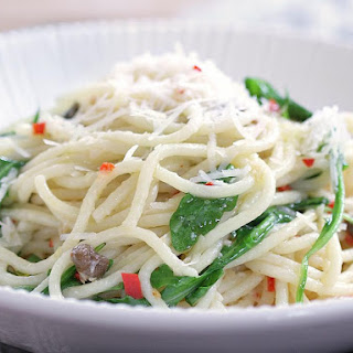 Spaghetti with Capers, Lemon and Arugula