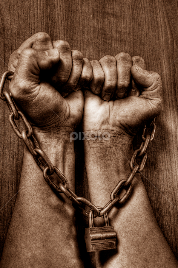 together we stand by Pete G. Flores - People Body Parts ( sepia, chain, fingers, lock, fist, pwchands )