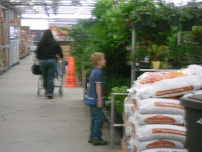 Photo: Of course Kiddo being a farmer at heart had to check out the plants and potting soil.