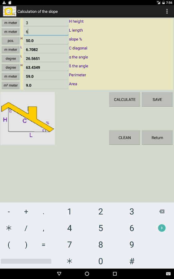 CONSTRUCTION calculator- screenshot