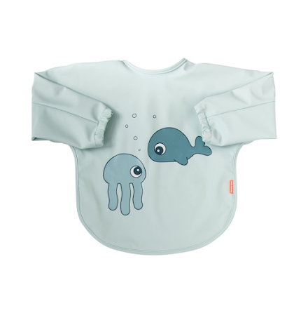 Sleeved Bib 6-18 månader Sea Friends Blue
