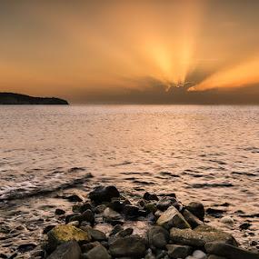 Izola sunset by Peter Zajfrid - Landscapes Sunsets & Sunrises ( clouds, izola, slovenija, sunset, slovenia, sea, pwcsunbeams, sun )