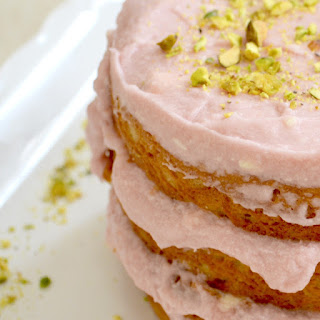 Pistachio Cake with Rosewater Buttercream Frosting.