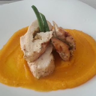 Stuffed Roasted Chicken with Artichoke Lemon Pesto and Butternut Squash Puree.