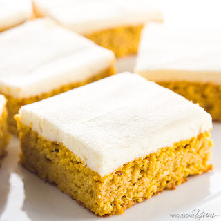 Low Carb Healthy Pumpkin Bars with Cream Cheese Frosting Recipe