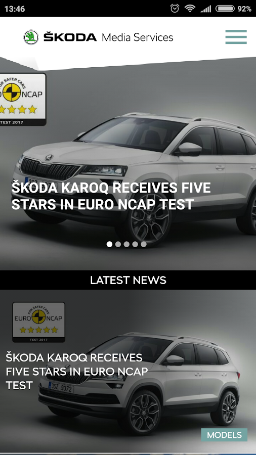 ŠKODA Media Services – zrzut ekranu