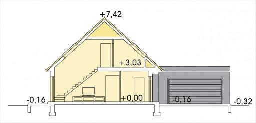 Vito wersja B2 podwójny garaż - Przekrój