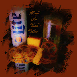 Beer & Pretzles by Dave Walters - Typography Quotes & Sentences ( with cheese, still life, pretzles, typography, lumix fz2500 )