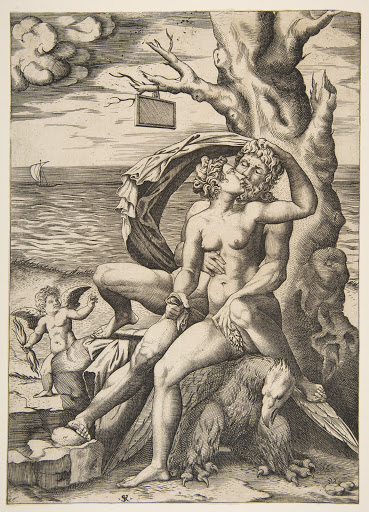 Jupiter and Semele embracing, an eagle beneath them, a tree at right with a blank tablet hanging from a branch, a winged putto holding a thunderbolt at left