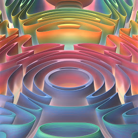 Inner Sanctum by Lyle Hatch - Illustration Abstract & Patterns ( abstract, colorful, whimsical, three dimensnioal, fractal design, 3d, fog, mandelbulb 3d, 3-d, symmetry, surreal, fractal, fanciful )
