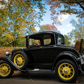 Model A Autumn by Tim Davies - Transportation Airplanes ( car, model a, automobile, fall, auto, antique )
