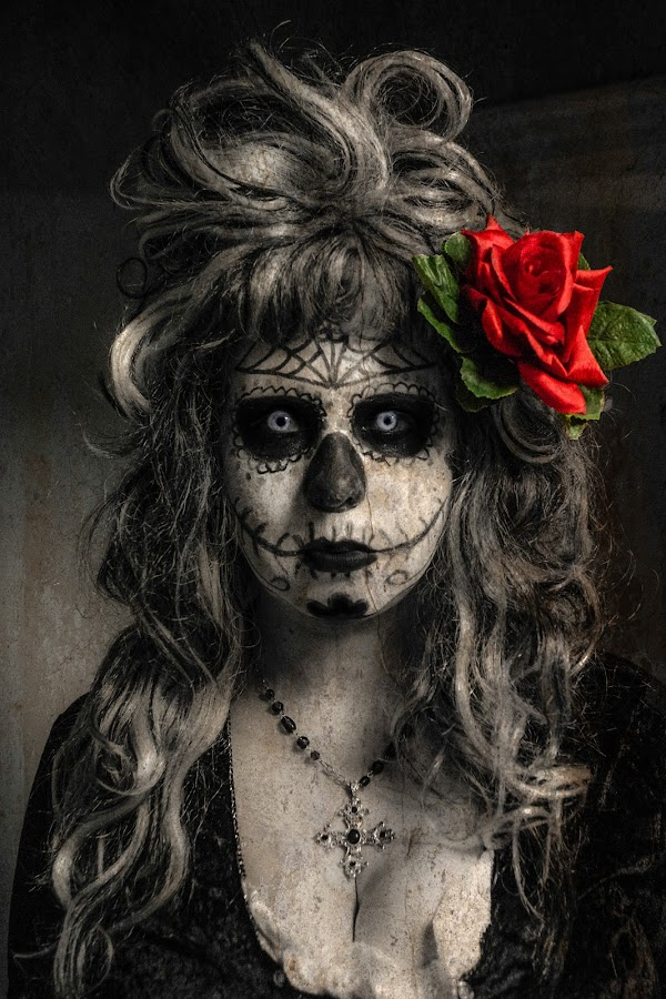 Til Death Do Us PArt by Mitch Lassiter - People Body Art/Tattoos ( mexican holiday, dia de los muertos, day of the dead, sugar skulls, halloween, face, people )