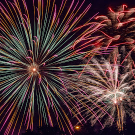 Fireworks Closeup by Jim Salvas - Public Holidays July 4th ( red, green, night, burst, fireworks, squiggles, lancaster )