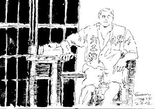 Photo: 守門2012.08.24鋼筆 獄吏顧犯人 雜役幫守門 抄抄又寫寫 沒我事難成