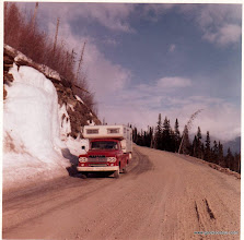 Photo: More AlCan highway.  3 of us - Marilyn (mom), Tom (Dad) Chris (10 year old daughter) lived in that truck camper for 3-6 months.