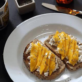 Cottage Cheese, Mango, and Honey Toast.