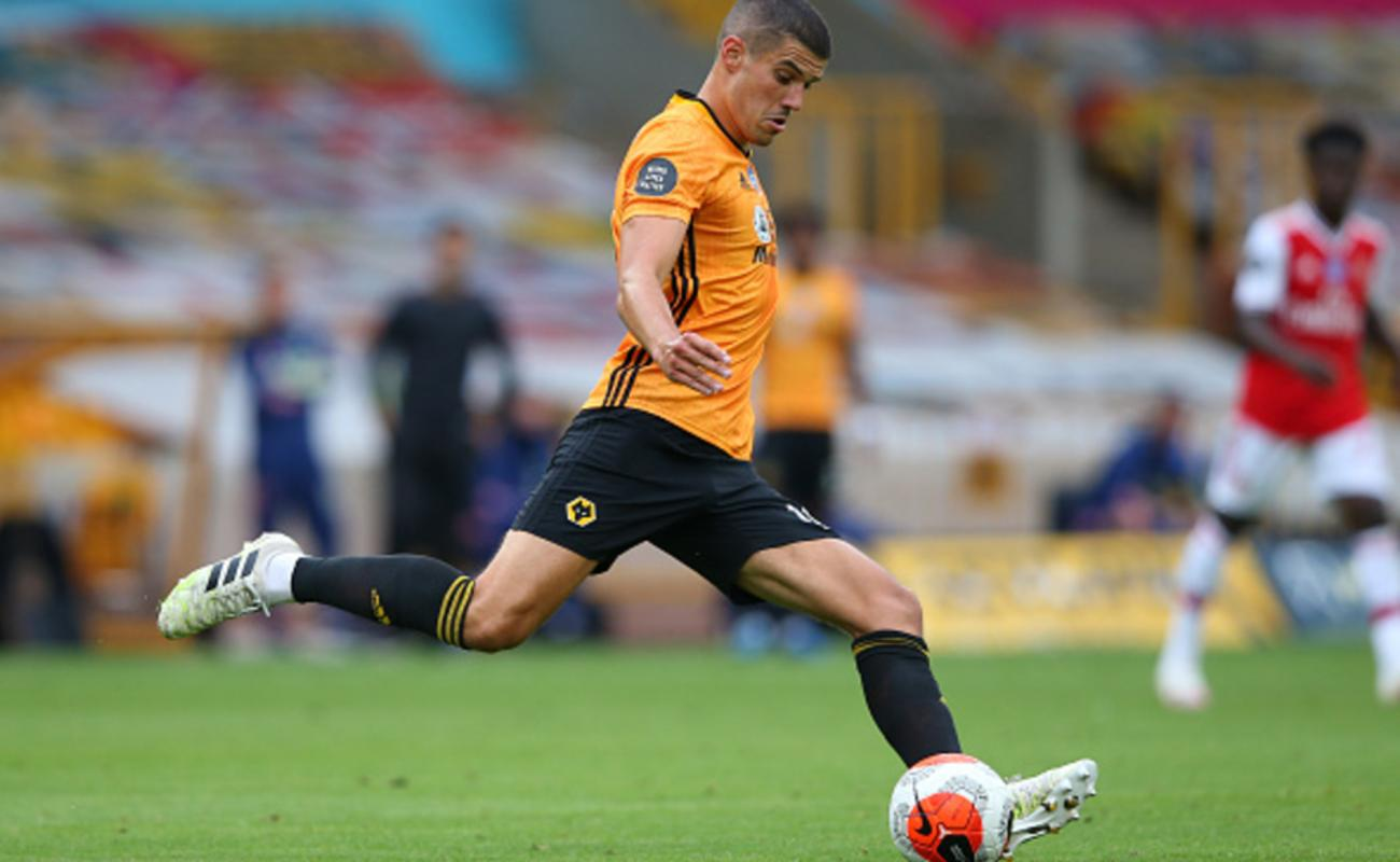 Connor Coady of Wolverhampton Wanderers Kicks the Ball in the Game Against Arsenal
