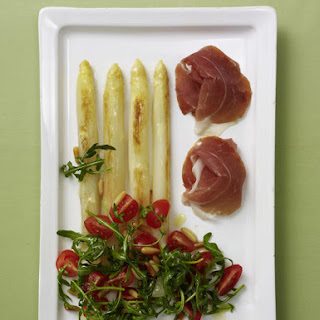 Fried Asparagus with Parma Ham and Arugula