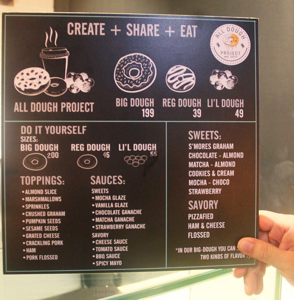 All Dough Project Menu