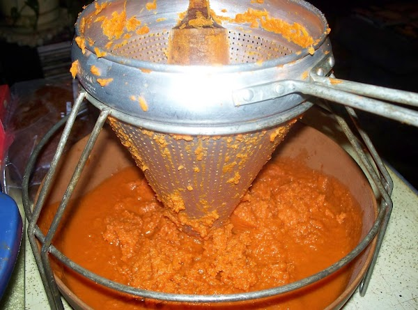 Run carrots through a food sieve (cone) to make the pulp. This will remove...