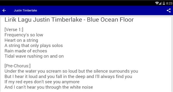 Lyrics Justin Timberlake - náhled