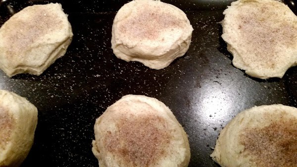Mix sugar and cinnamon, brush biscuits with melted butter and sprinkle each with sugar/...