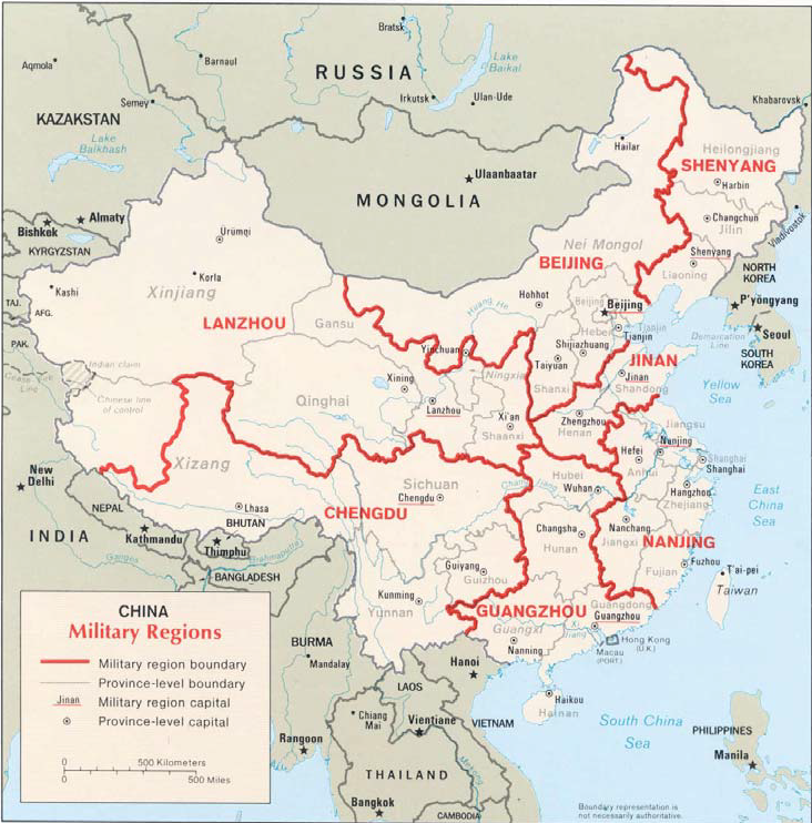 Old Chinese Military Regions Map. From https://upload.wikimedia.org/wikipedia/commons/0/00/China_military_regions_2013.png