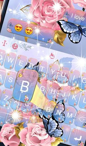 Download Pink Rose Blue Butterfly Keyboard Theme MOD APK 2