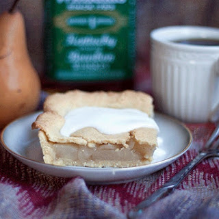PEAR BOURBON VANILLA SLAB PIE W/ CORNMEAL ALMOND CRUST (GLUTEN FREE).