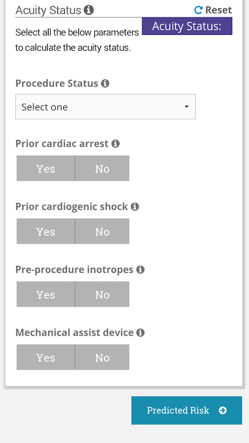 TAVR Risk Calculator- screenshot