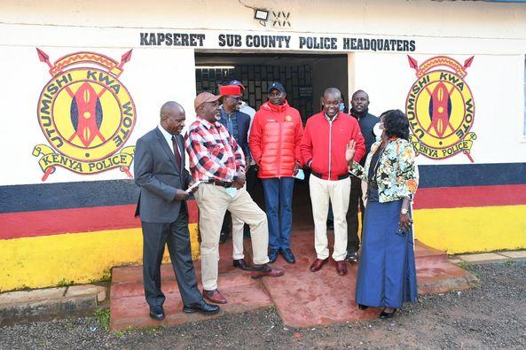 Kapsaret MP Oscar Sudi at Langas police station on September 13, 2020. He was accompanied by Soy MP Caleb Kositany, Uasin Gishu Woman Rep Gladys Shollei, Kimilili MP Didmus Barasa among others.