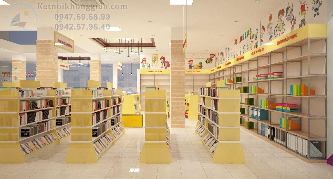 thiết kế nội thất nhà sách chắc chắn