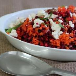 Beetroot and Carrot Salad with Feta & Pomegranate Molasses
