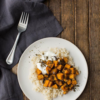 Roasted Za'atar Sweet Potatoes with Couscous.